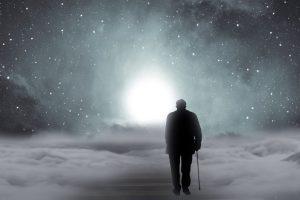 Man walking away into snow storm