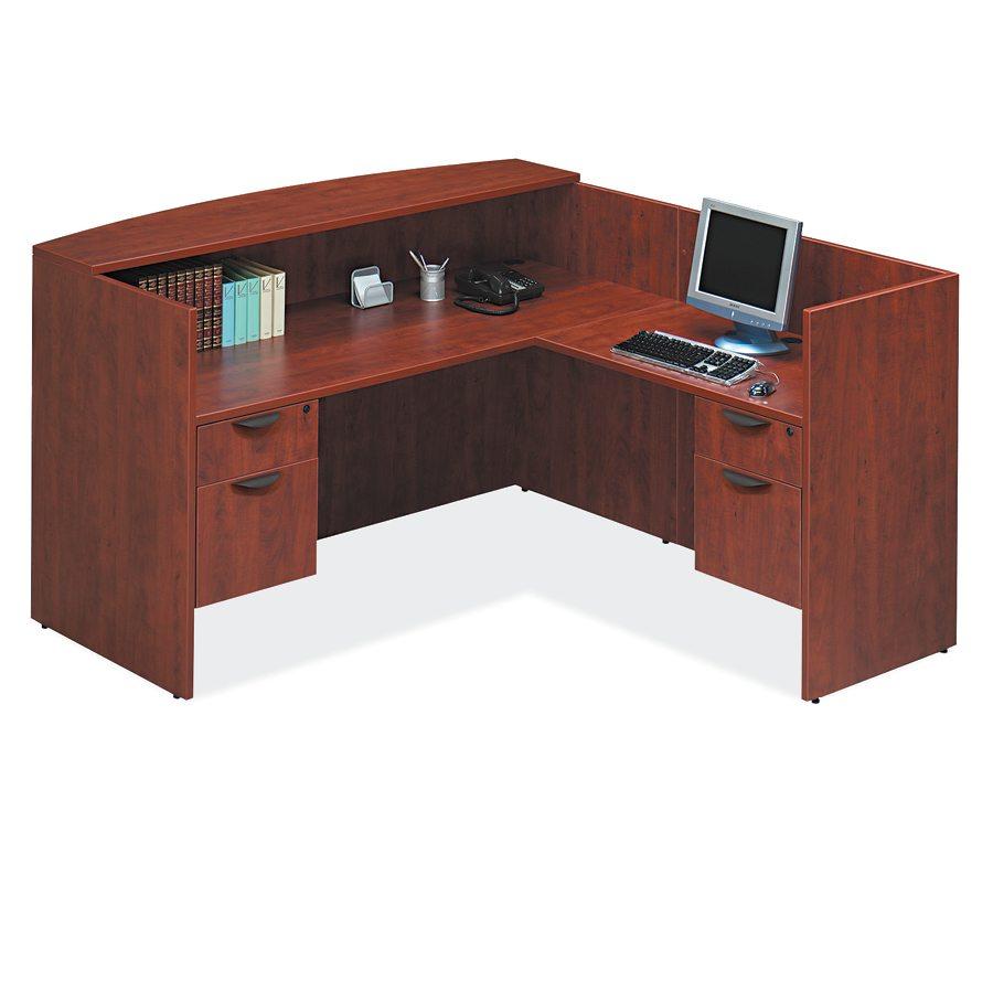 LShaped Reception Desk with Hanging Pedestals  8 Colors