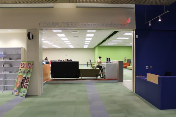 Entrance to public computer lab inside library.