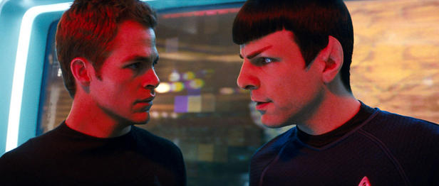 "Chums no more: Chris Pine (left) and Zachary Quinto play Kirk and Spock as bitter rivals in new ""Star Trek."""
