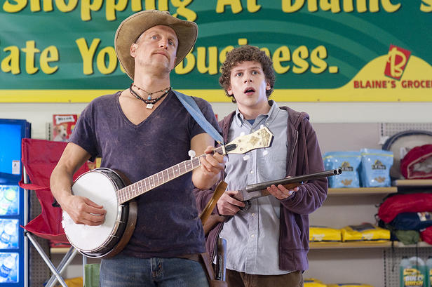 Be vewwy, vewwy quiet: Tallahassee (Woody Harrelson) and Columbus (Jesse Eisenberg) are huntin' zombies.