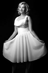 woman, dress, white