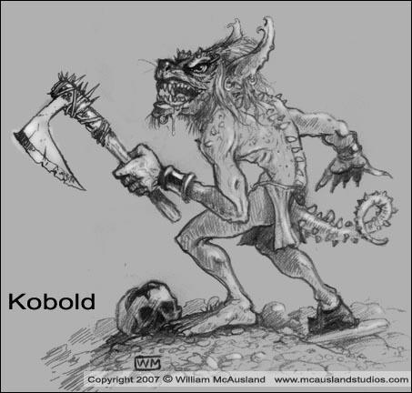 Kobold sketch by William McAusland, RPG Art