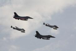 De Havilland DH.115 Vampire T.55, De Havilland DH.100 Vampire FB.52 & Lockheed Martin F-16AM Fighting Falcons