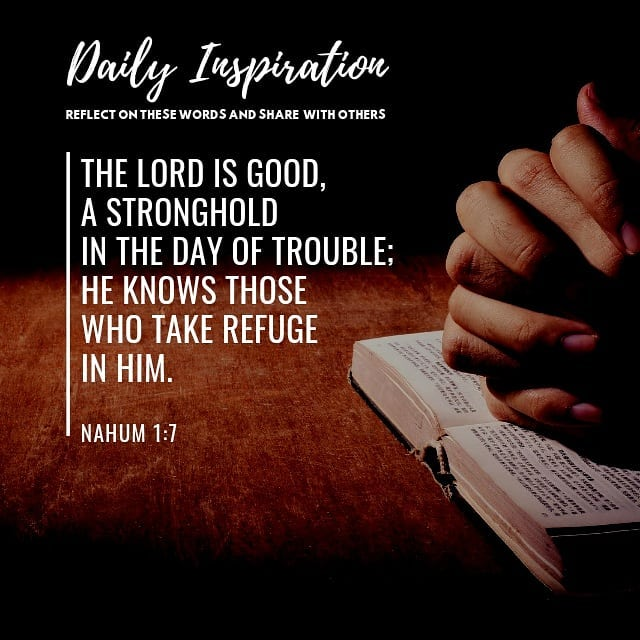 The Lord is good, a stronghold in the day of trouble; he knows those who take re…