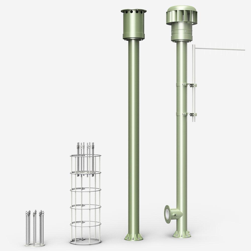 Vent poles 150mm
