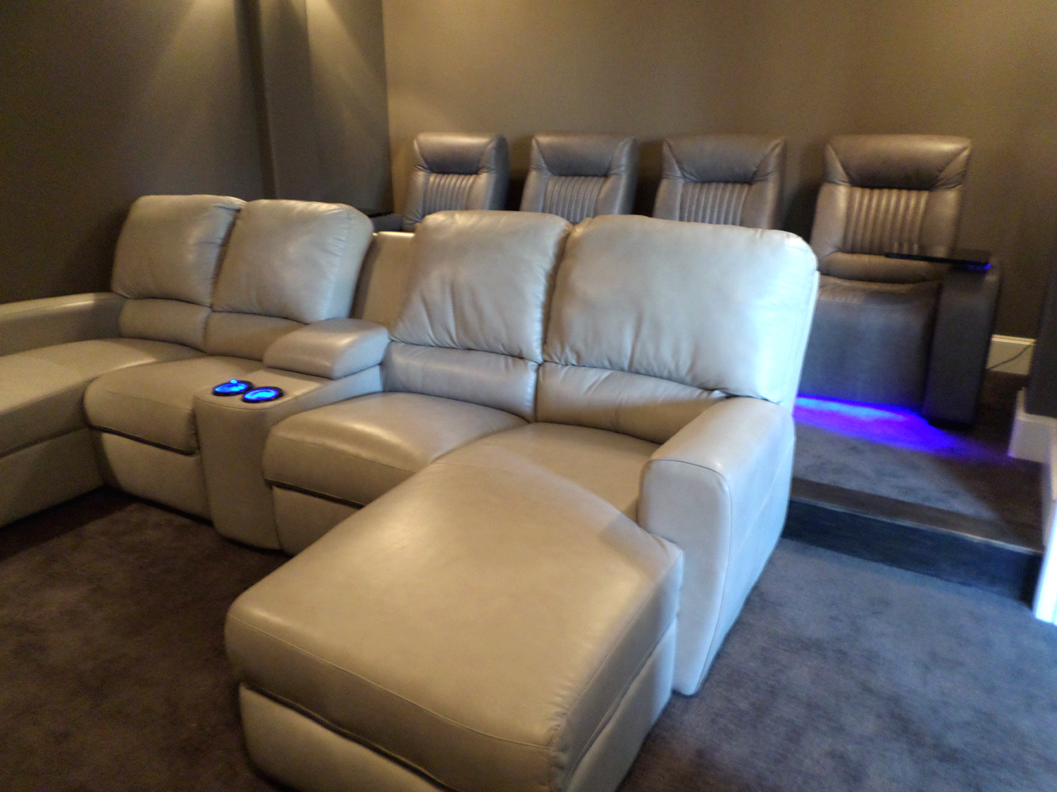 home theater leather sofa wood carved sets palliser seating with media gorgeous room