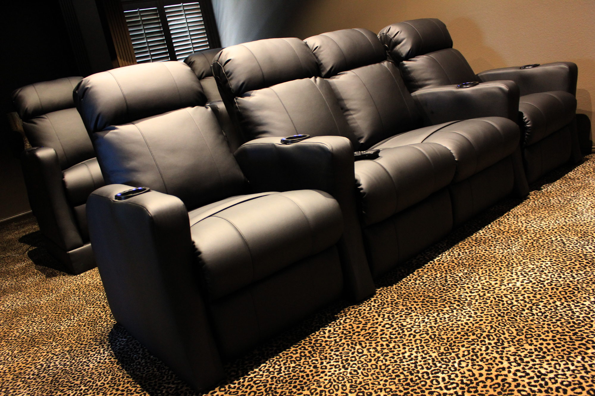 home theater chair revolving with armrest chairs built in riser and led kit mccabe 39s