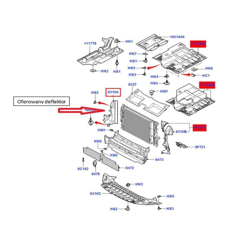 Osłona chłodnicy prawa Mondeo Mk4 / S-max / Galaxy FoMoCo