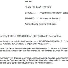 MC Cartagena pregunta al Ministerio si la empresa familiar de Noelia Arroyo trabaja de forma irregular con el Puerto de Cartagena