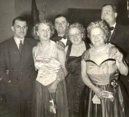 Stan and Pansy (centre) at a party. On the left is Pam's sister Ruby and husband, Wilf Selby. On the right is another sister, Iris, with her husband, Arnold Booth. Date and location unknown.