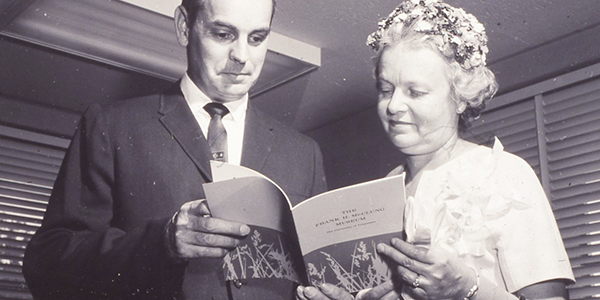 Alfred Guthe, former head of anthropology at University of Tennessee and second director of the McClung Museum, with Mrs. Helen Ross McNabb, June 1, 1963