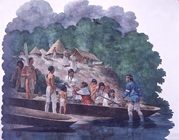 Circa 1760. Life-size mural by Greg Harlin