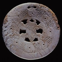 Shell Gorget (pendant) with Spider Motif, Late Mississippian period, ca. AD 1450. Diameter 3.9 in.
