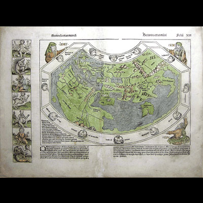 Ptolemaic World Map (Secunda etas mundi), Hartmann Schedel, Woodcut with hand color, Nuremberg, 1493. Creatures on the left were thought to inhabit the further most parts of the earth.