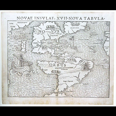 Earliest Separate Map of the Americas (novae insulae), Sebastian Munster, Woodcut, Basel, 1540