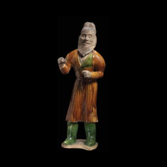 Sancai glazed pottery figure of a foreign groom. Height 23 in.