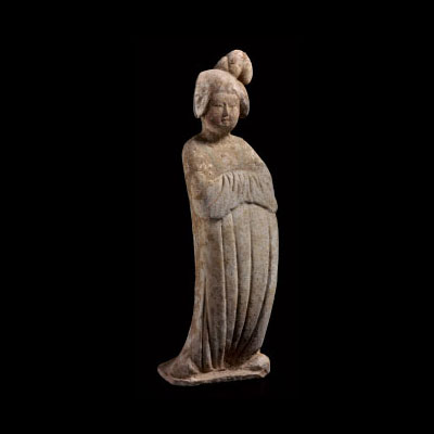Painted red pottery figure of a court lady. Height 20 in.