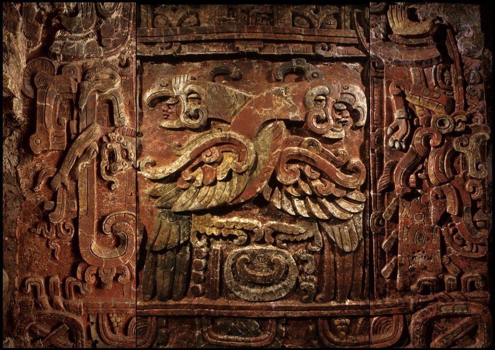 The grand stucco Margarita Panel, a replica of which is featured in the exhibition, was carved around 450 CE in Copan. Photo courtesy: Early Copan Acropolis Project, Penn Museum.