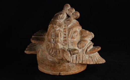 Lid, Head in the Shape of a Bearded Man, Chipal, Guatemala, Postclassic (900–1200 C.E.), plumbate pottery, 6 x 6 x 9 inches. Collection of the University of Pennsylvania Museum of Archaeology and Anthropology, NA11451.