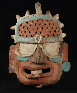 Incense Burner and Lid in the Form of a Deity Head, Aintun Cave System, Sepacuite Valley, Guatemala, Late Classic (600–800 C.E.), pottery, 12 x 8 x 6 inches. Collection of the University of Pennsylvania Museum of Archaeology and Anthropology, 37-12-44.