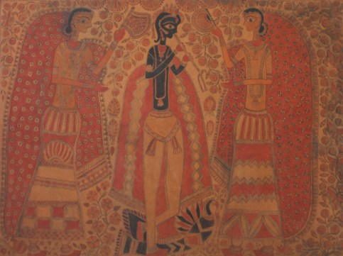 Sita Devi, Krishna, circa 1970s, mud, oxide colors on particle board, © 2015, Courtesy of BINDU Modern Gallery, Photo credit: Sneha Ganguly.
