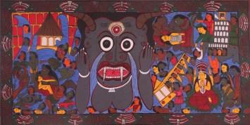 Swarna Chitrakar, Tsunami, 2005, fabric paint on canvas, © 2015, Courtesy of BINDU Modern Gallery, Photo credit: Sneha Ganguly.