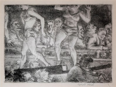 Burlesk Runway, 1927, Reginald Marsh (American, 1898–1954), Etching, Museum purchase made possible by Michael and Kathy Mouron, 2017.10.6.