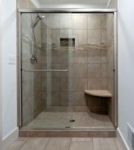 Tile shower with sliding glass door