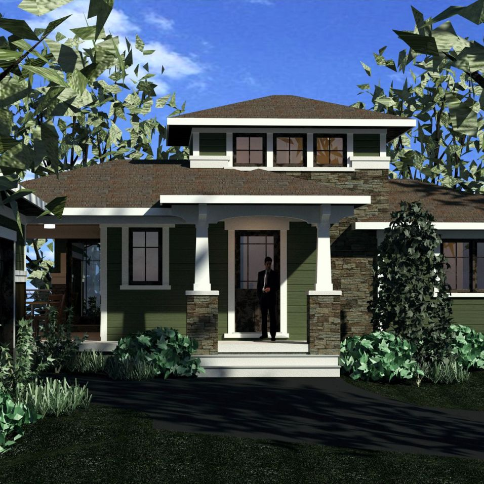 Color computer rendering of prairie style entry