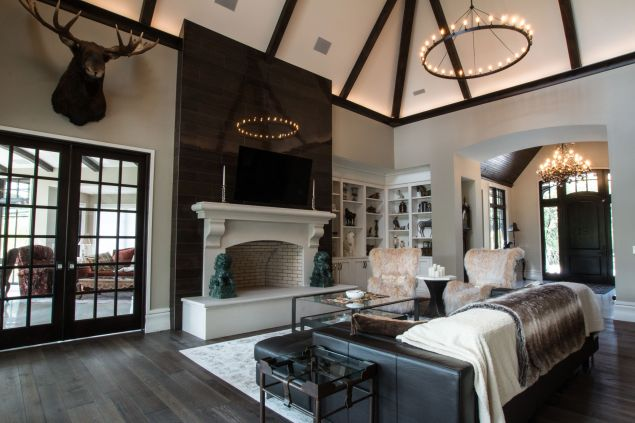 View of cut stone fireplace in Great room