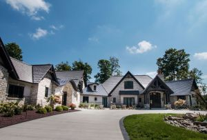 Sprawling home with stone finish and timber accents