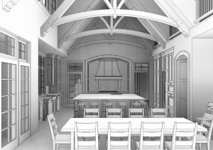 Lineart computer rendering of proposed kitchen design