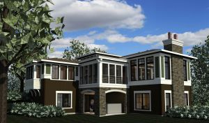 Color computer rendering of rear side of home with screen porch