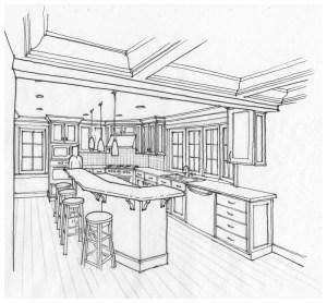 Line art perspective sketch of kitchen design