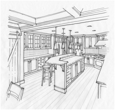 Line art perspective sketch of kitchen design