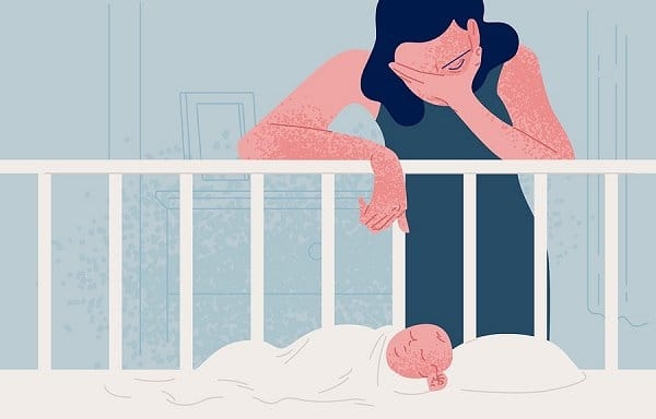 cartoon of postpartum depression as shown with depressed mother standing over a baby's crib in distress