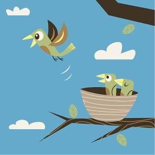 cartoon of a bird leaving the nest