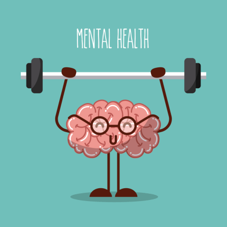 cartoon of brain holding a barbell with the title mental health