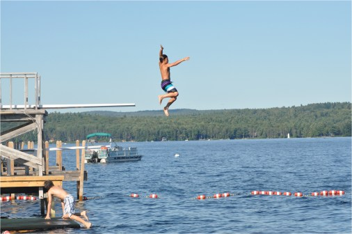 McCrae goes to NH with the Pauls - jumping off diving board