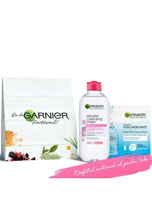 Garnier - Set cadou Apa Micelara Garnier 400 ml + Masca Garnier Fresh Mix cu Acid Hialuronic 33g - Incolor