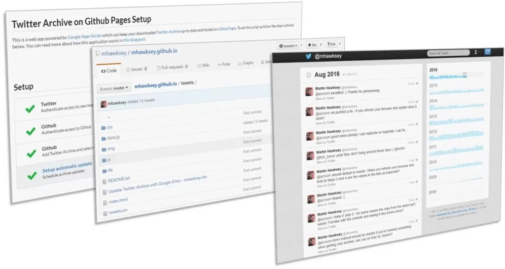 Keeping your Twitter Archive fresh and freely hosted on