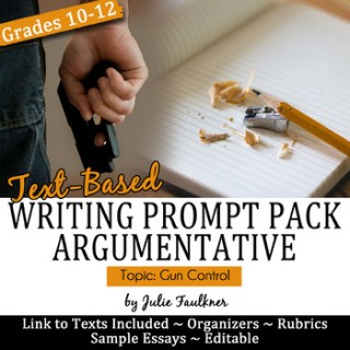 Argumentative Prompt Pack Gun Control, Argue a Text, Text-