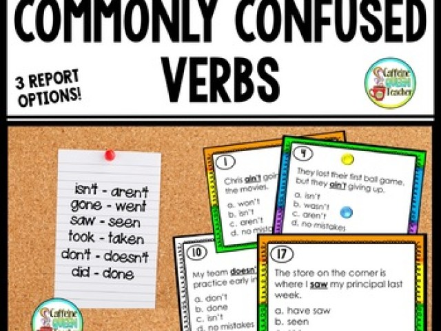 Used and Abused Verbs Task Cards  Commonly Misused Verbs