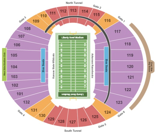 Liberty Bowl Stadium Tickets in Memphis Tennessee Seating