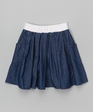 Dark Denim Pleated Pocket Skirt - Toddler & Girls