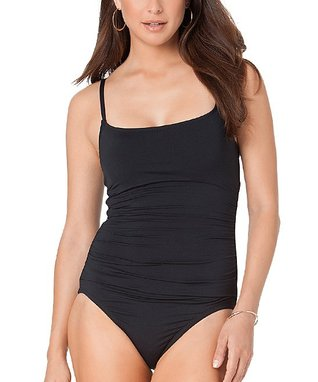 Black Shirred Spaghetti-Strap One-Piece