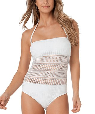 White Crochet Bandeau One-Piece