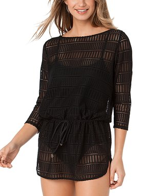 Black Crochet Tie-Waist Tunic
