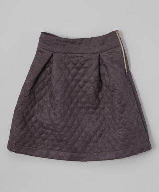 Gray Quilted Skirt - Girls